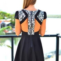 Black & White Print Dress with Cutout Back & Cap Sleeves