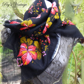 Gorgeous Vintage Hand Painted Leaf/Floral Scarf, Red, Yellow, Lilac Russian Scarf, Boho Black Peasant Scarf