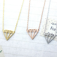 Cut-Out Diamond shape necklace in gold /silver / pink gold