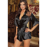 Gowns Pyjamas Sleepwear Set Black Lace Underwear = 4804336772