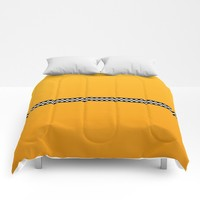 NY Taxi Cab Yellow with Black and white check stripe Comforters by podartist