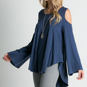 Navy Cut-Out Shoulder Top