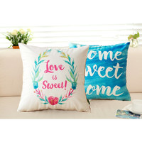 2017 New Design Home and Love Cushion Cvoer Cotton Linen Square Printed Letter Pillowcase Decorative Throw Pillows Cojines