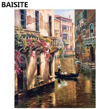 BAISITE Frameless DIY Oil Painting Pictures By Numbers On Canvas Wall Pictures Wall Art For Living Room Home Decoration 945