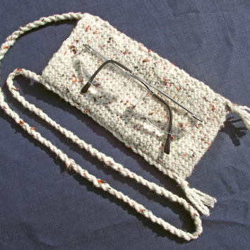 Glasses Case with Neckstrap, Spectacles Pouch with Neck Strap, Oatmeal Eyeglass Case with Neckstrap, Handspun Crochet Pouch with Neckstrap
