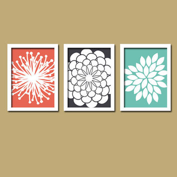 Coral Navy Teal Flower Burst Daisies Petals Artwork Set of 3 Trio Prints Wall Decor Abstract Art Picture Silhouette