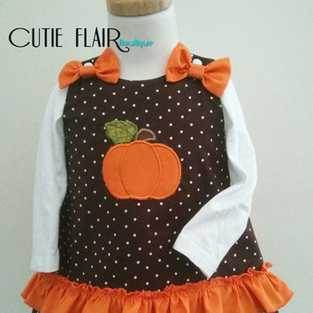 Girls Thanksgiving dress, Girls Pumpkin Dress, Pumpkin A line Dress, Pumpkin Outfit, Baby Pumpkin Dress, Halloween Dress, Made to Order 0-3T