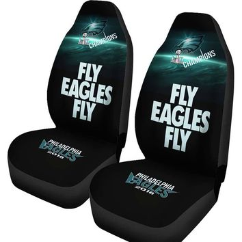 Philadelphia Eagles Car Seat Cover 2pcs Midnight Green Black Fly Eagles Fly Super Bowl LII Champs