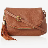 TASSELED CROSS BODY SADDLE BAG from EXPRESS