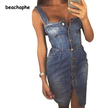 Women's denim overall front buttons summer dress