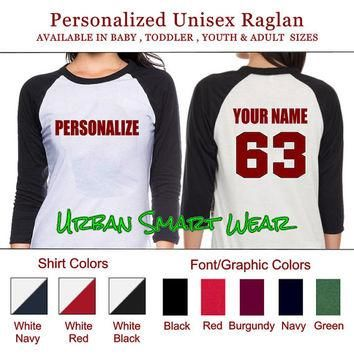 Personalize your Shirt Number Jersey. Personalized Raglan | Sport Team Football Basket