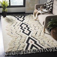 Safavieh Hand-Knotted Kenya Ivory/ Black Blue Wool Rug (6' x 9')   Overstock.com Shopping - The Best Deals on 5x8 - 6x9 Rugs