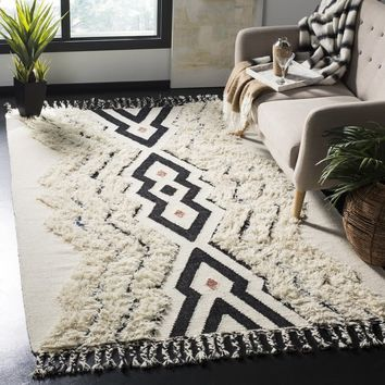 Safavieh Hand-Knotted Kenya Ivory/ Black Blue Wool Rug (6' x 9') | Overstock.com Shopping - The Best Deals on 5x8 - 6x9 Rugs
