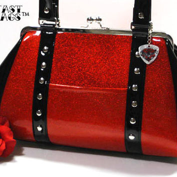 Sparkle Vinyl Purse, Ruby Red Glitter Vinyl and Black Gloss Vinyl, Rockabilly Handbag - MADE TO ORDER