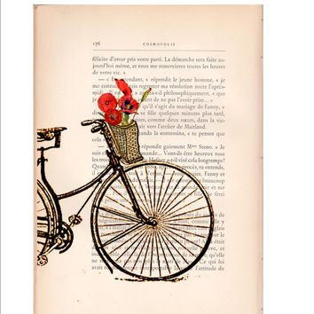 BOGO SALE Vintage French bicycle Basket Poppies dictionary art print wall decor printed on antique French novel book page. Item No. C821