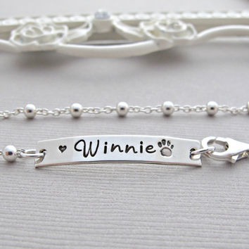 Memorial Bracelet for pet loss,  Engraved dog name, personalized dog name, Paw Print, Sterling Silver