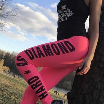 Red Monogram Hard As Diamond Sports High Waisted Yoga Workout Long Pants