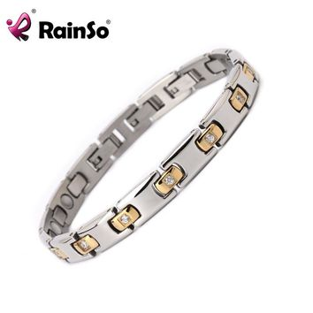Ladies Silver Stones Magnetic Bracelet  Health Bangle Healing Charm Wristband for Women