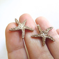 Golden Glitter Starfish Star Fish Stud Post Earrings Ear Jewelry Sea Seastar Gold