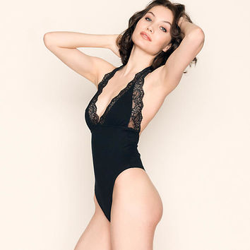 So Fine with Lace Halter Bodysuit