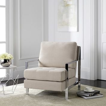 Safavieh Mid-Century Modern Walden Tufted Linen Chrome Beige Accent Chair | Overstock.com Shopping - The Best Deals on Living Room Chairs