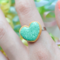 Sugar cookie ring - Lt blue-Polymer clay miniature food jewelry-Sugar cookie collection