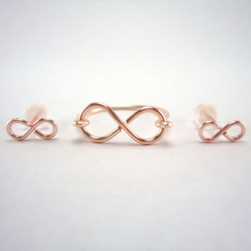 Infinity Ring Mini Infinity Stud Set Rose by heartfeltwiredesigns