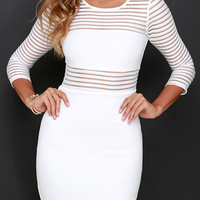 White Striped Long Sleeve Bodycon Mini Dress