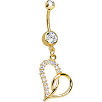 Gold Plated Clear Gem Swirling Hollow Heart Dangle Belly Ring | Body Candy Body Jewelry