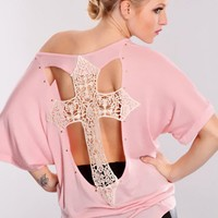 Pink Crochet Cross Studded Top