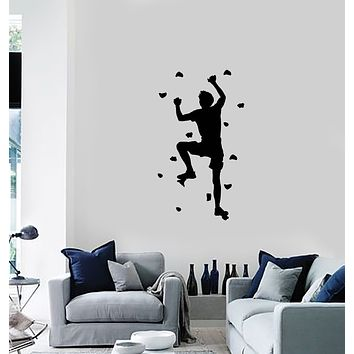 Vinyl Wall Decal Rock Climber Climb without Rope Extreme Sports Stickers Mural (ig6104)