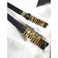 DIOR Fashion New Leisure Leather Personality Belt Women Black
