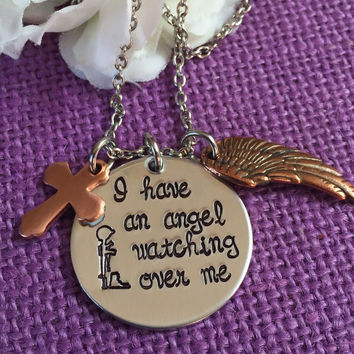 Fallen soldier Memorial - Military Cross - Remembrance Necklace - I have an angel watching over me - Soldier family remembrance