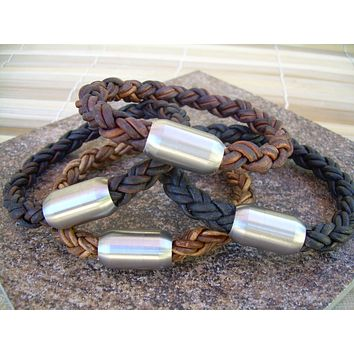 Thick Braided Leather Bracelet for Men with a Large Stainless Steel Magnetic Clasp, Fathers Day Gift, Mens Bracelet, Mens Jewelry, Groomsmen
