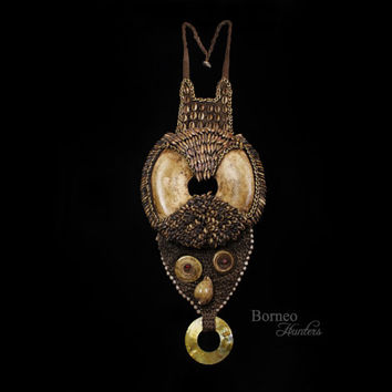 Papua New Guinea Pectoral Ornament Large Currency Disc Necklace Tribal Ethnic Ceremonial Adornment Seashell/Seeds/Teeth