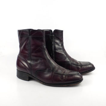 Leather Ankle Boots 1970s Burgundy Brown Euro Beatle Zip men's size 8