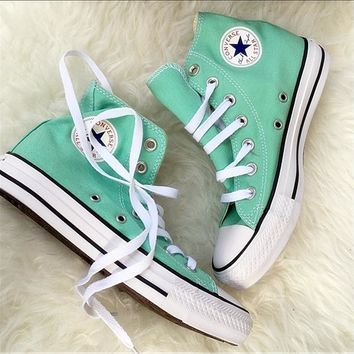 Converse All Star Sneakers Adult Leisure High-Top Leisure shoes Mint green