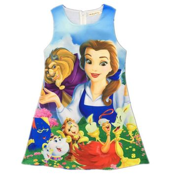 Beauty and The Beast Princess Belle Dresses Cartoon Print Flower Dress Baby Birthday Costume Clothes Princess Clothing