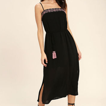 Everyday Escape Black Embroidered Midi Dress