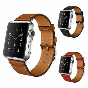Fashion Leather Watch Band Retro Wrist Strap For Apple Watch Iwatch 38mm 42mm