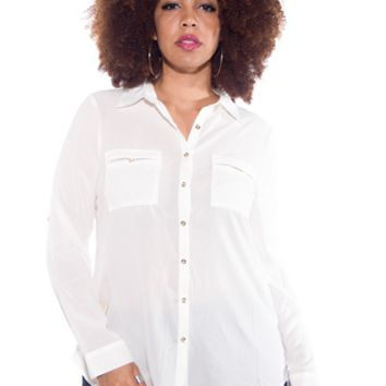 Office Adorable Plus Size Button Up Blouse - White