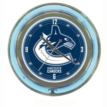 NHL Vancouver Canucks Neon Clock - 14 inch Diameter