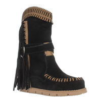 Mojo Moxy Nomad Fringe Moccasin Hidden Wedge Mid Calf Boots, Black, 6 US