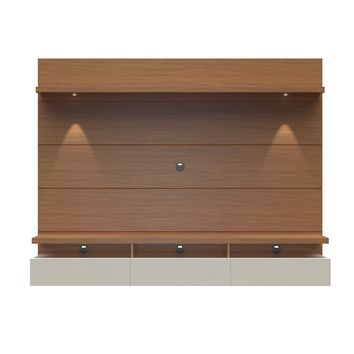 Cabrini 2.2 Floating Wall Theater Entertainment Center in Brown and Off White