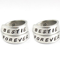 BESTIE FOREVER Best Friends Match Ring Set, Sisters Best Friend BFF Rings, Besties Jewelry, Hand Stamped Friendship Rings
