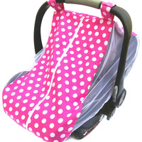 Fitted car seat cover for spring/summer with mosquito netting sides - Hot pink and white polka dot carseat bug canopy - Dearleoradesigns