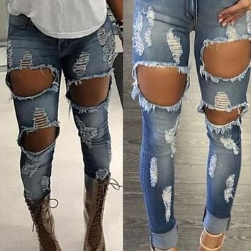 2017 Latest Machine Jeans New Womens Ripped Destroyed Distressed Fitted Low Rise Skinnys Hot Sale