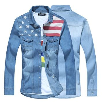 Vintage American Flag Design Denim Shirt