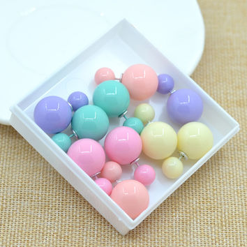 Sales 11colors fashion simulated  pearl candy piercing wedding stud earrings 2sizes brincos perle --CRYSTAL SHOP Free shipping