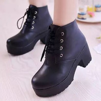 platform shoes woman boots female round toe leather boots with ties working shoes for women